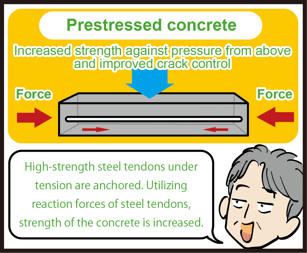 Prestressed concrete Increased strength against pressure from above and improved crack control High-strength steel tendons under tension are anchored. Utilizing reaction forces of steel tendons, strength of the concrete is increased.