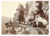 Railway along a steep cliff (around 1900)